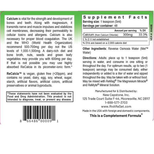 ReCalcia - Calcium-Lösung   Dr. Dean´s piko-ionisches flüssiges Calcium - 240ml