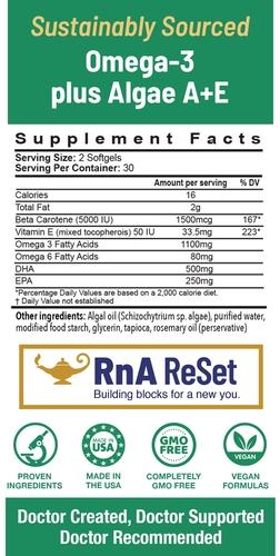 Omega-3 Algae A+E - Vegane Omega-3-Fettsäuren aus Algen mit Vitamin A+E